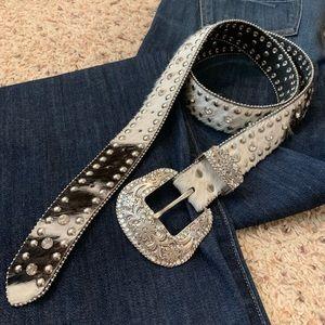 Nocona Rhinestone Leather Belt
